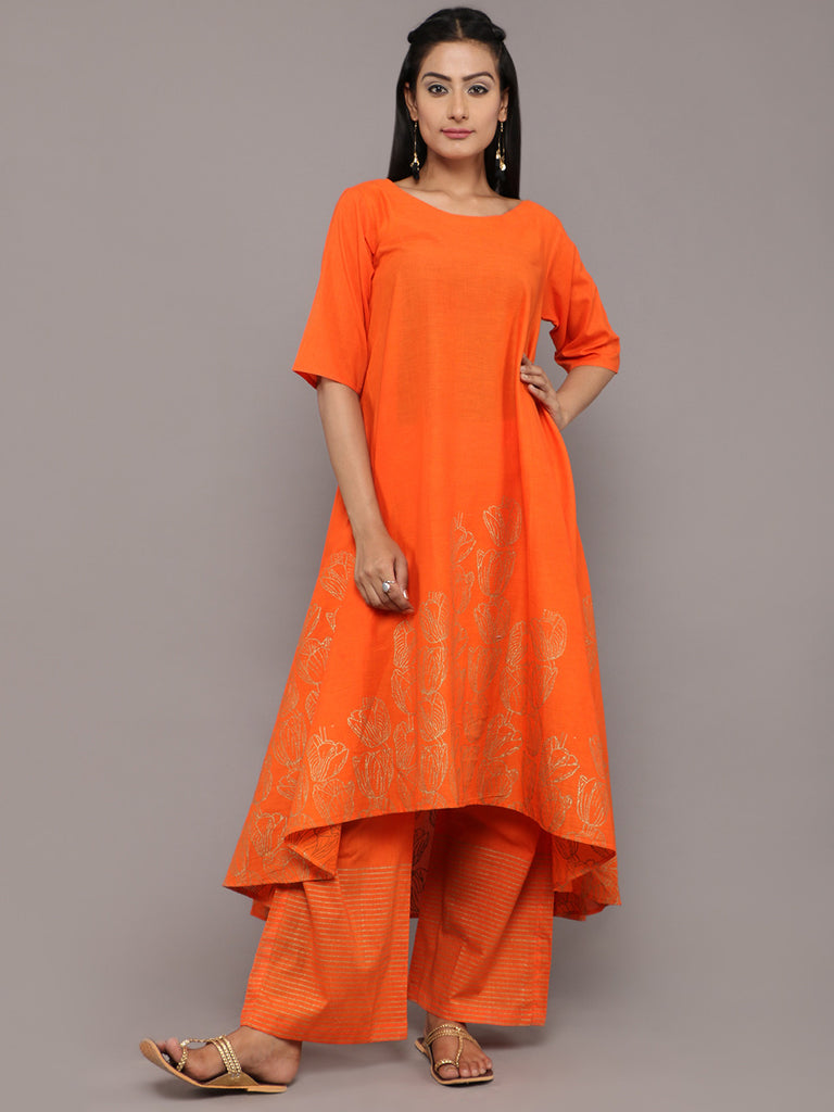 Orange Cotton Hand Block Printed Asymmetric Kurta