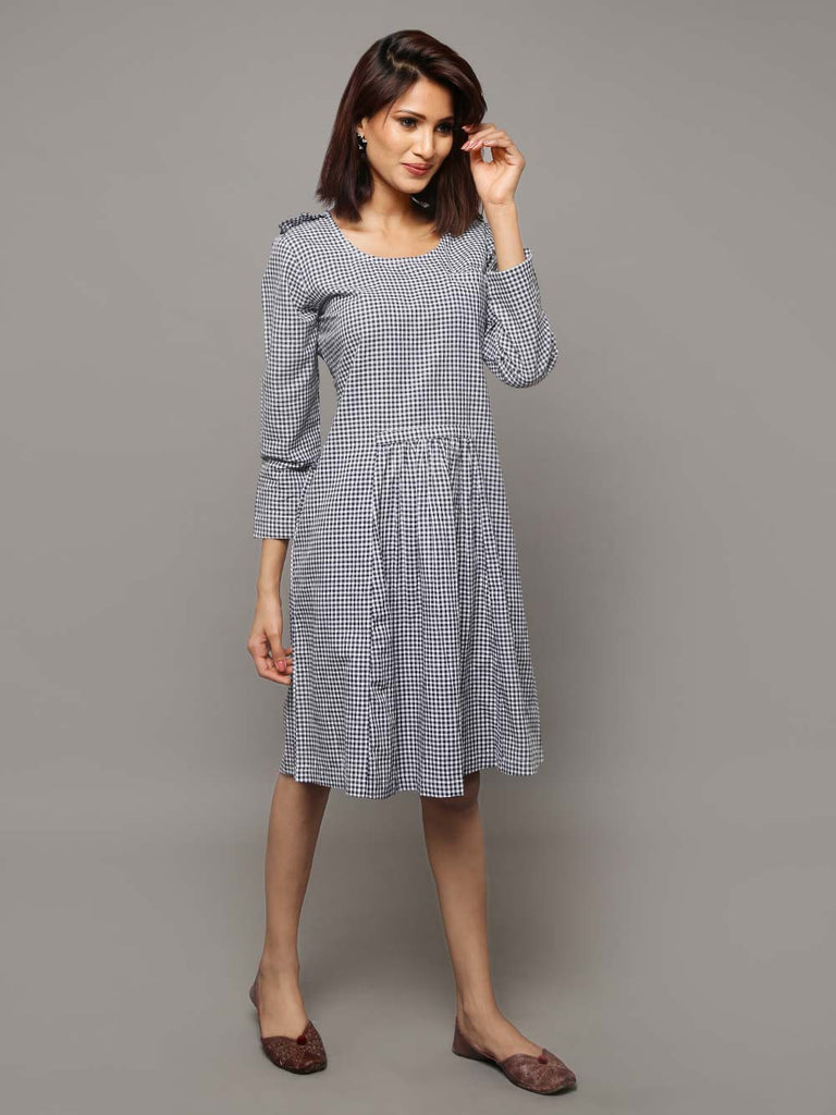 Navy Blue Cotton Chambray Checked Dress