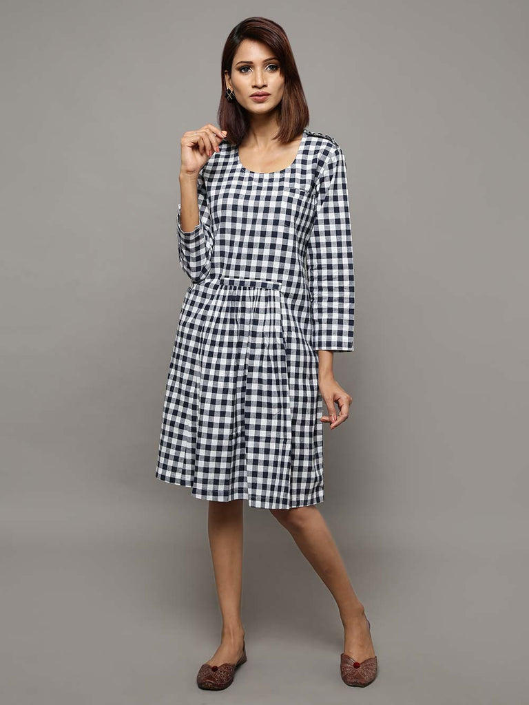 Navy Blue Cotton Chambray Broad Checks Dress