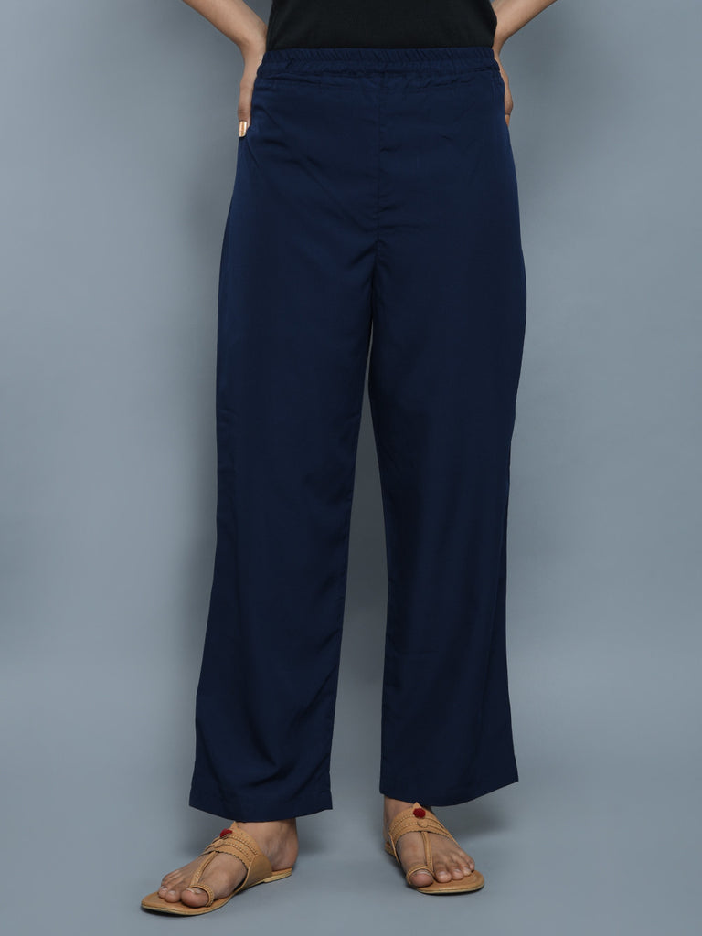 Navy Blue Cotton Elephant Cut Pants