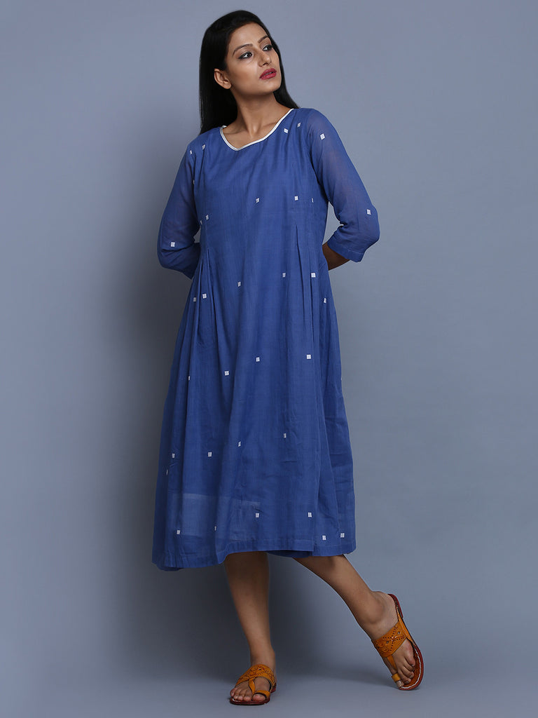 Blue Cotton Pleated Dress
