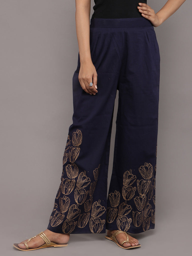 Navy Blue Cotton Hand Block Printed Pants