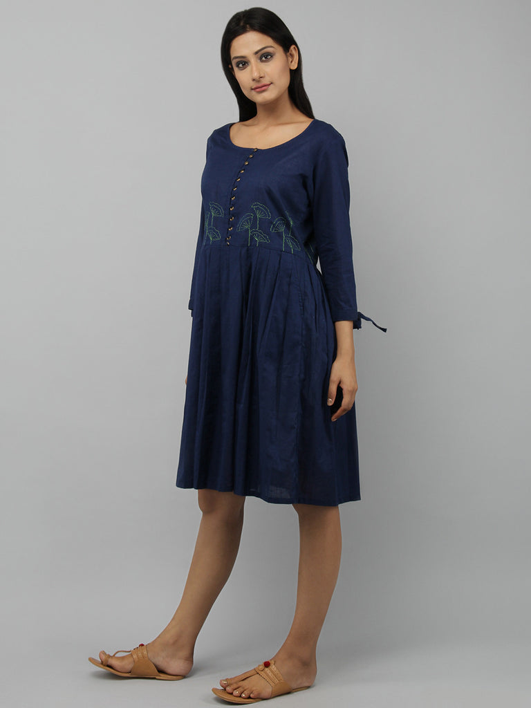 Navy Blue Cotton Pleated Dress