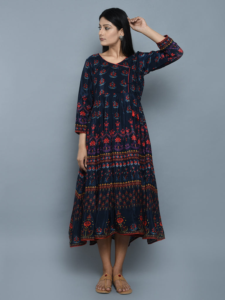 Blue Red Crepe Angrakha Dress