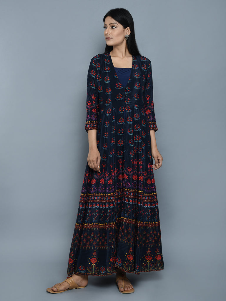 Navy Blue Crepe Gown with Printed Jacket - Set of 2