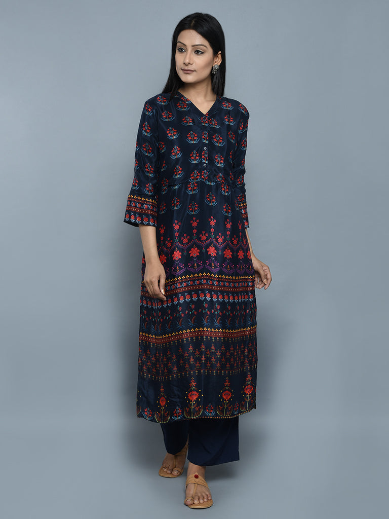 Navy Blue Crepe Straight Kurta