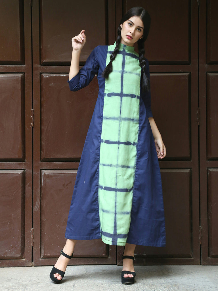 Navy Blue Green Modal Silk Cotton Prismatic Dress