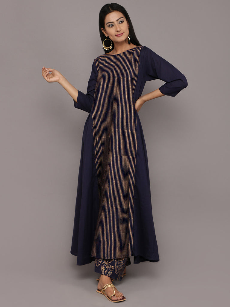 Navy Blue Hand Block Printed Cotton A-Line Kurta