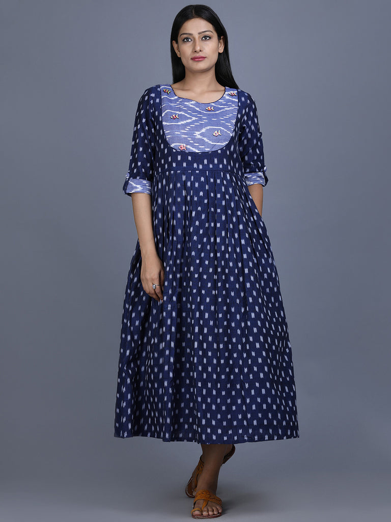 Navy Blue Ikat Cotton Nautical Dress
