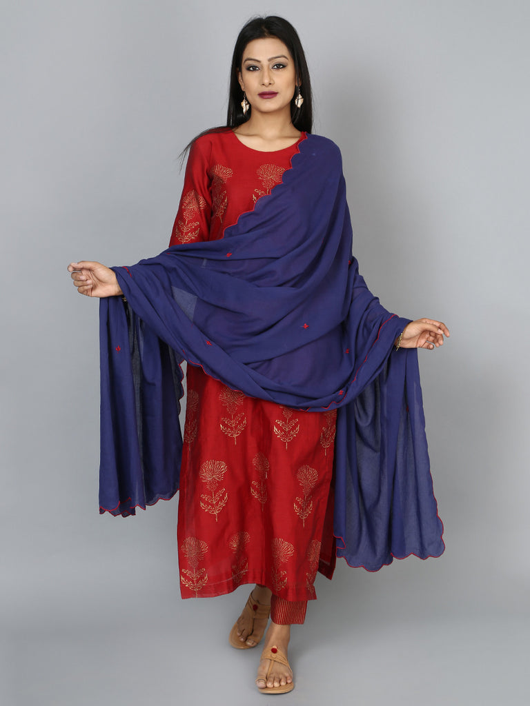 Navy Blue Mulmul Embroidered Dupatta