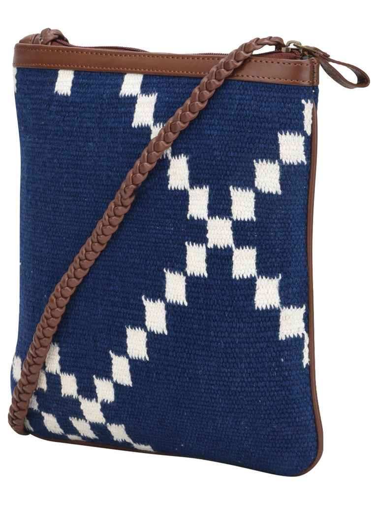 Navy Blue Off White Cotton Kilim with Faux Leather Diamond U Sling Bag