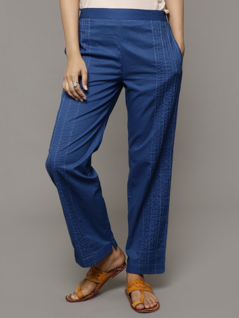 Navy Blue Pin Tucked Cotton Pants