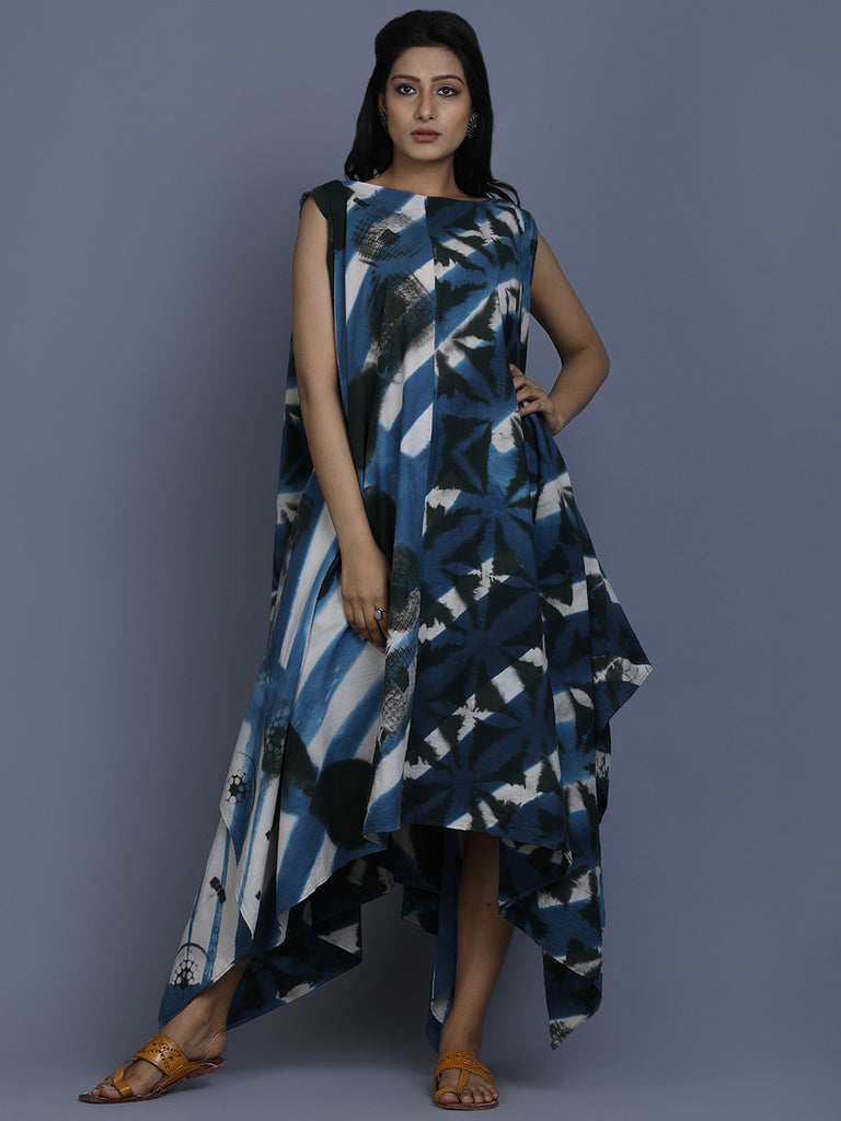 Navy Blue White Cotton Shibori Dyed Asymmetric Dress