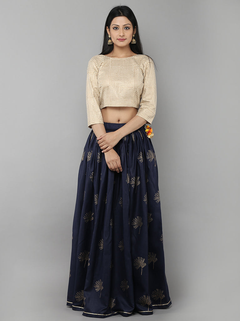 Navy Cotton Lehenga with Cream Unstitched Blouse - Set of 2