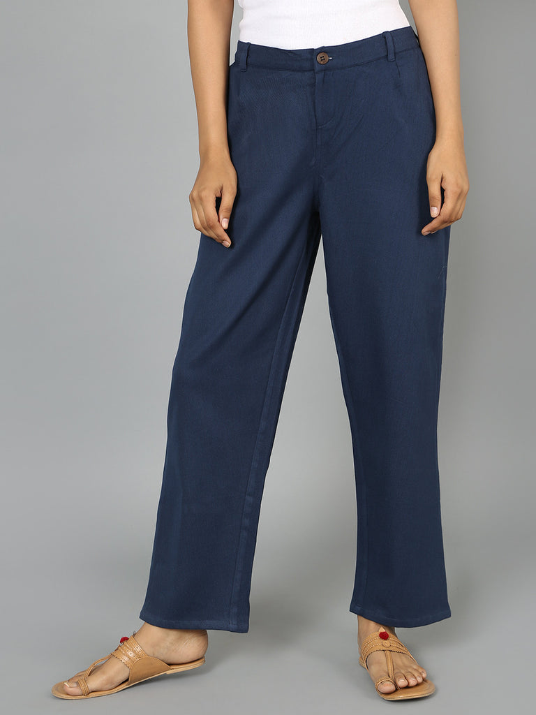 Navy Cotton Straight Cut Pants