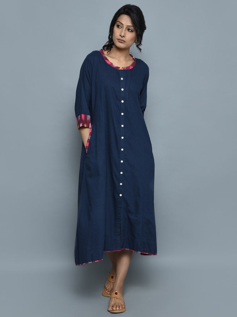 Navy Handwoven Khadi Ikat Dress