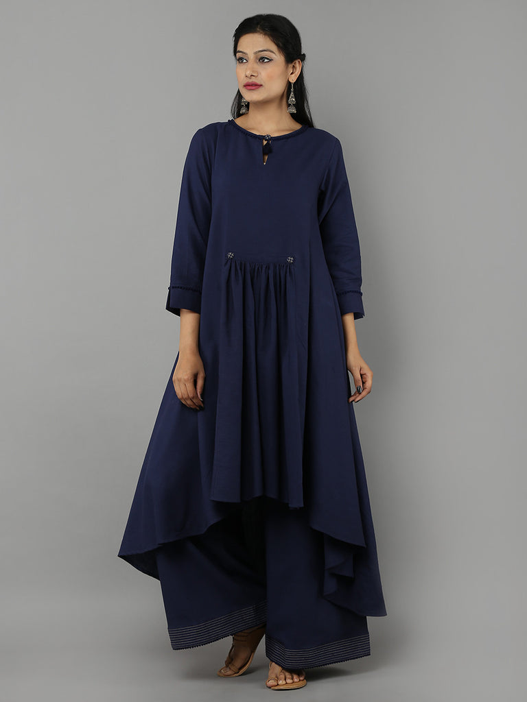 Navy Khadi Kurta with Palazzo - Set of 2