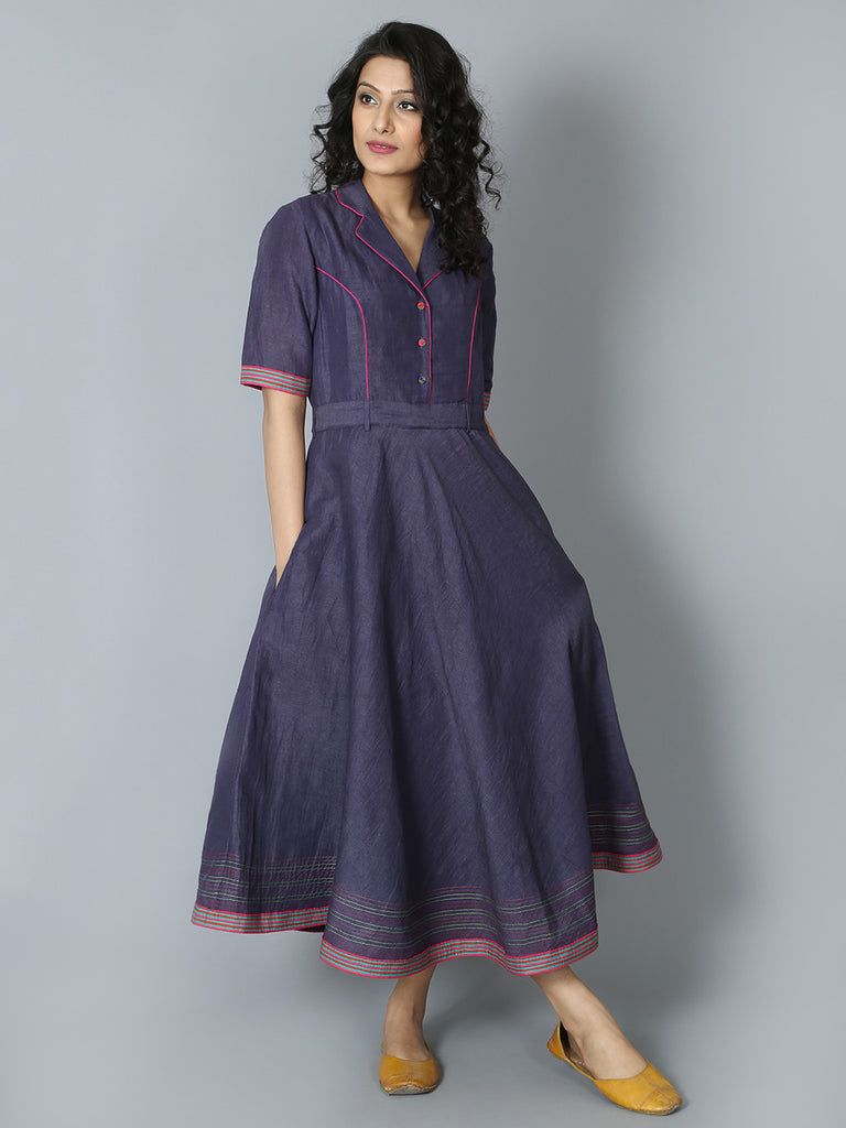 Navy Linen Banjara Dress