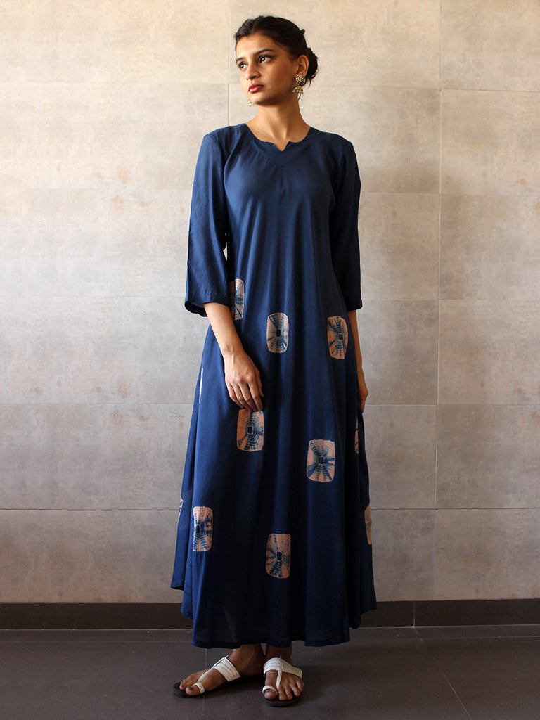 Navy Cotton Silk Bandhej Dress