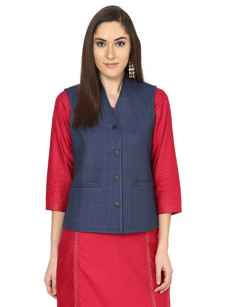 Navy Tussar Cotton Quilted Jacket
