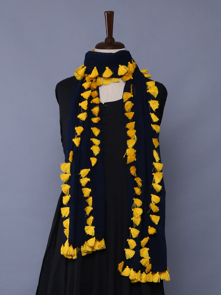 Navy Yellow Cotton Mulmul Tassel Stole