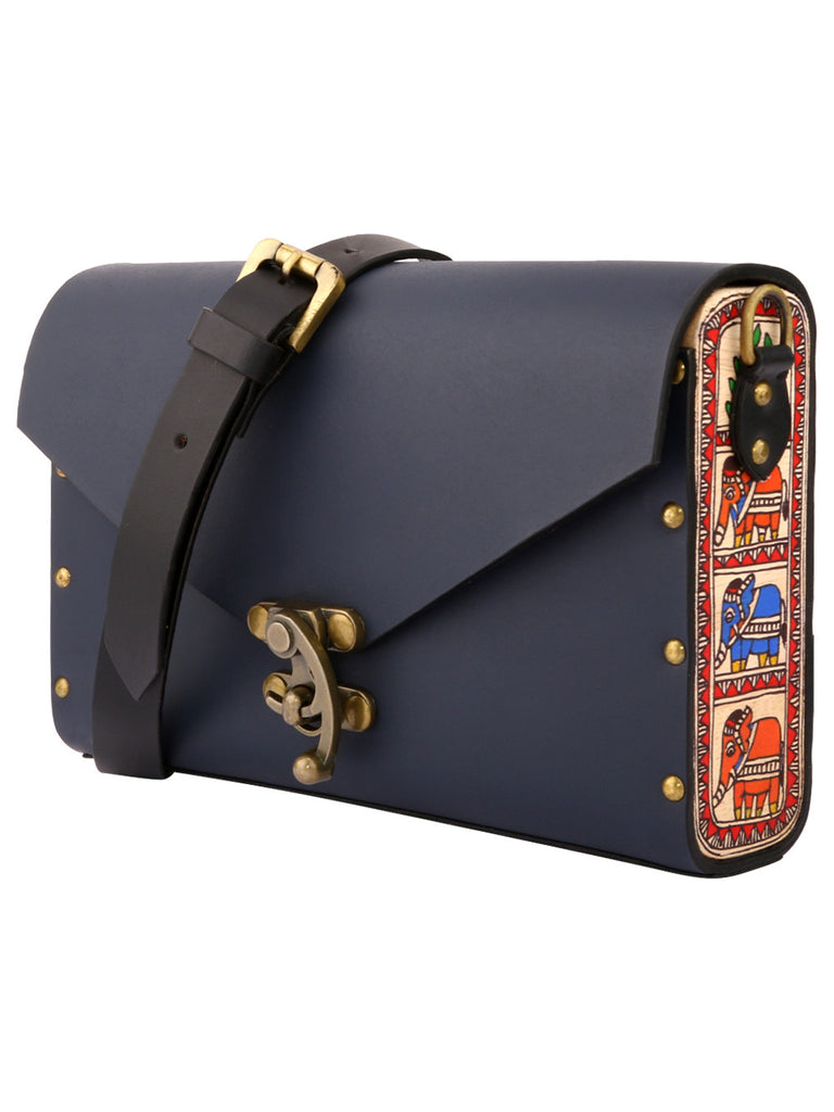 Navy Blue Leather Harness Sling Bag