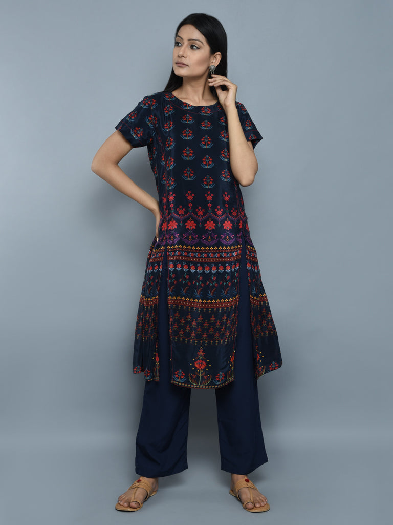 Navy Blue Crepe Double Slit Kurta