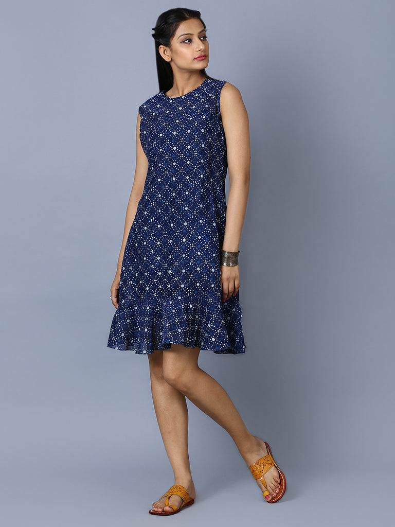 Navy Blue Chanderi Hand Block Printed Frill Dress