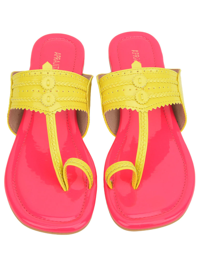 Neon Pink Yellow Hand Crafted Leatherette Kolhapuris