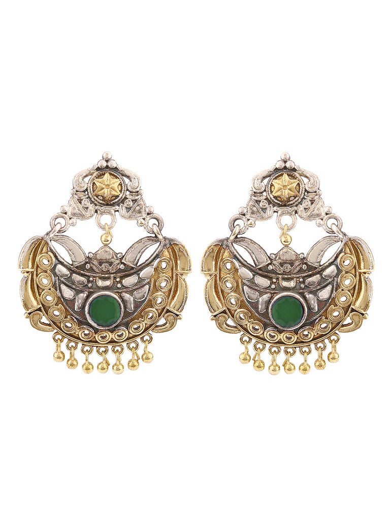 Nora Dual Plated with Green Stone Earrings