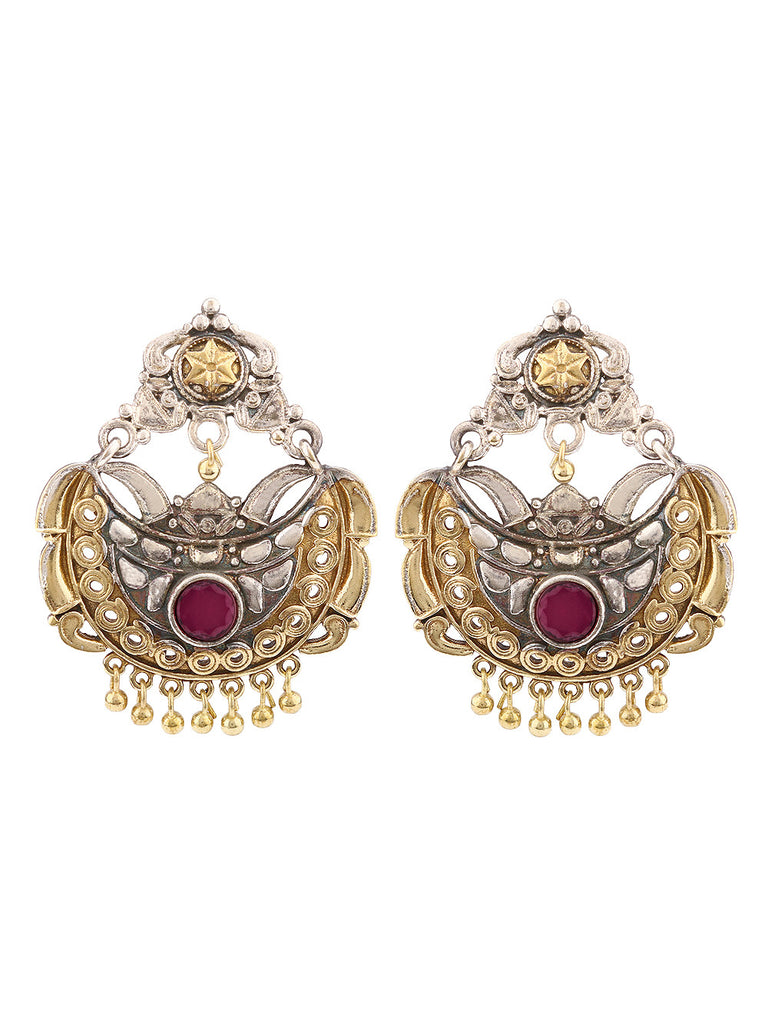 Nora Dual Plated With Pink Stone Earrings