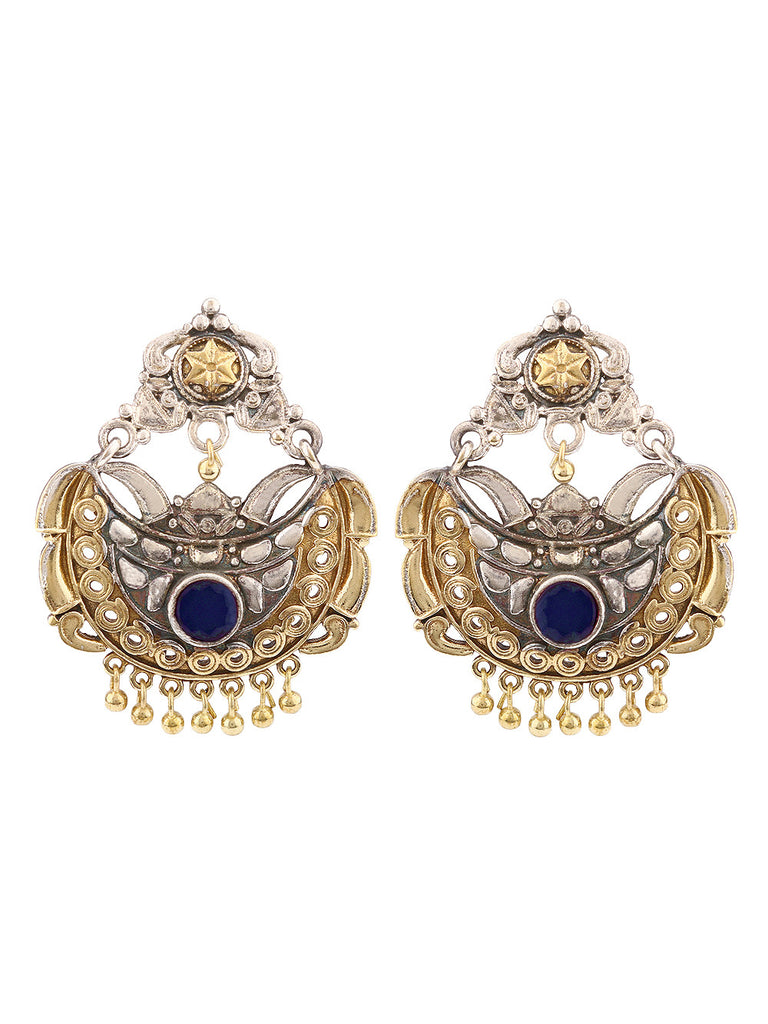 Nora Dual Plated with  Blue Stone  Earrings