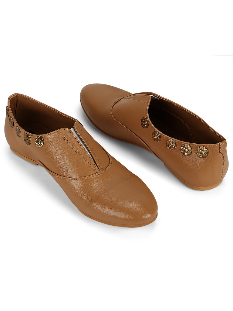 Beige Leatherette Handcrafted Shoes