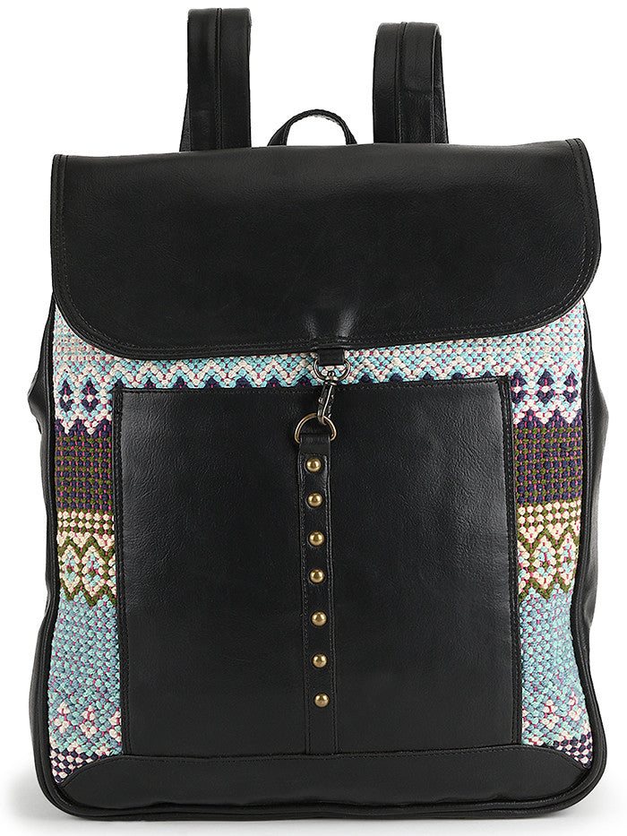Black Cotton Kilim Laptop Backsack