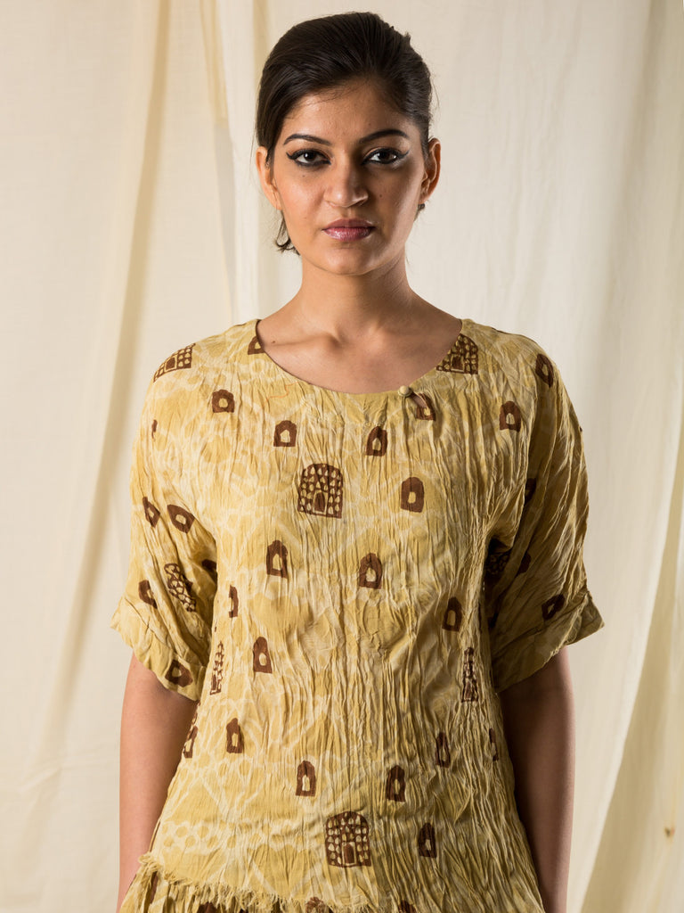Yellow Cotton Hand Block Printed Kora Top