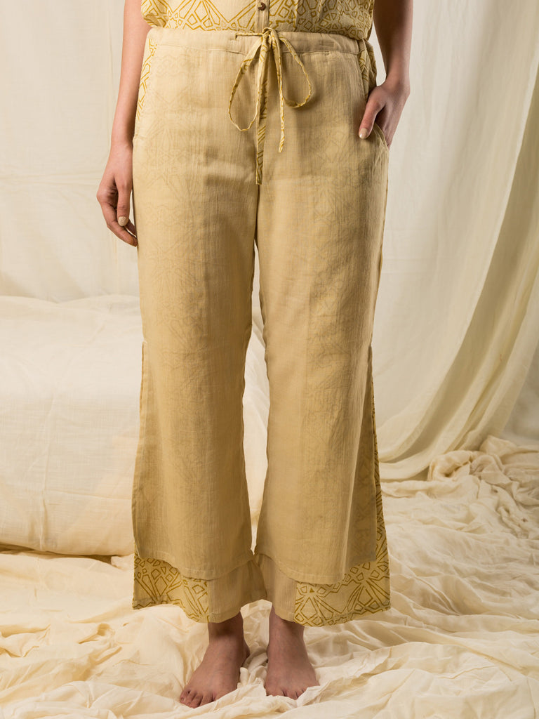 Yellow Cotton Hand Block Printed Double Layered Trousers