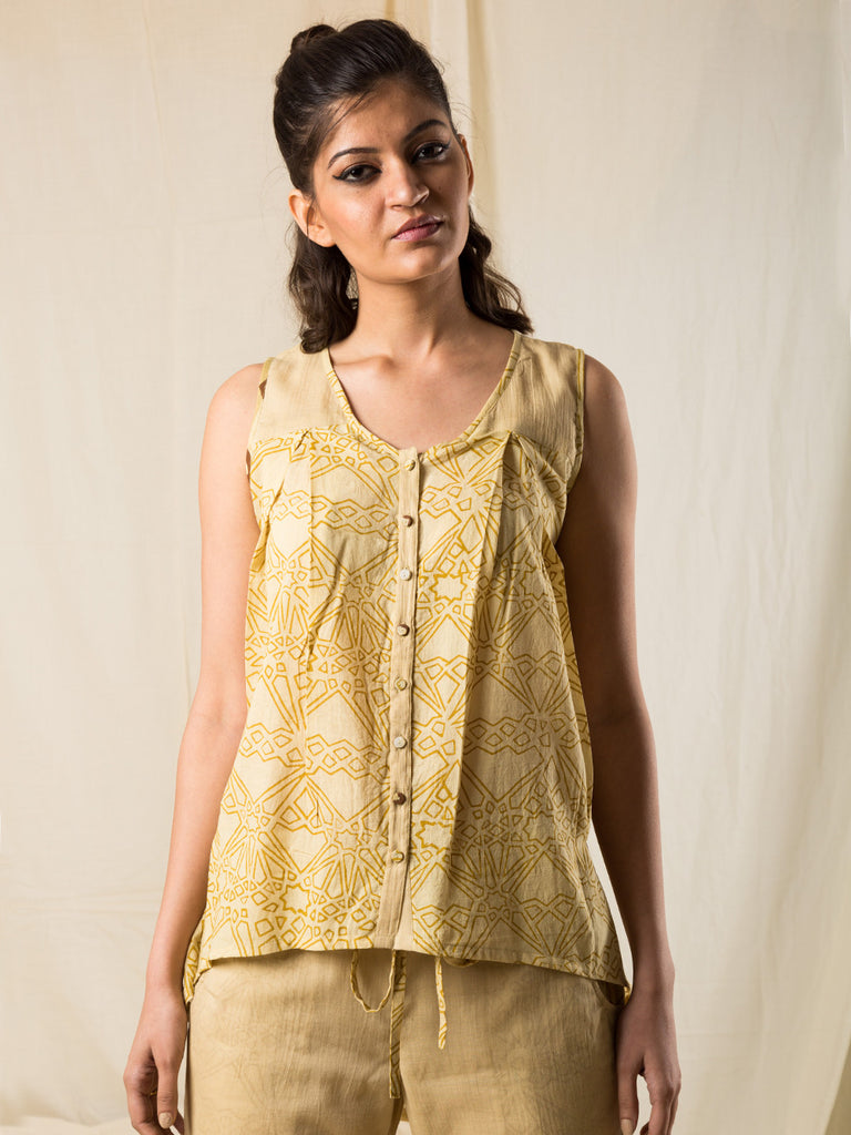 Yellow Cotton Hand Block Printed Slumber Top