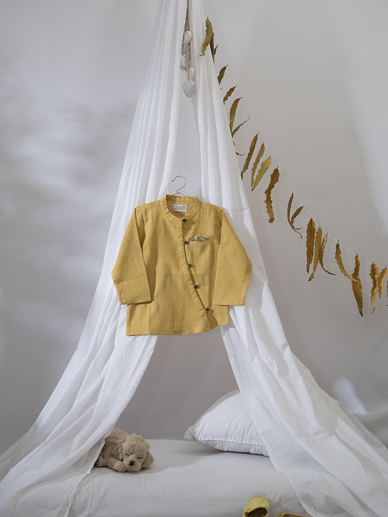 Ochre Yellow Cotton Herbal Hand Dyed Trail Shirt