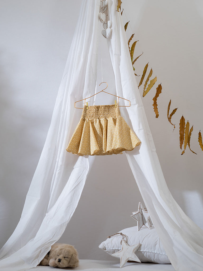 Ochre Yellow Cotton Herbal Dyed Flouncy Bouncy Skirt