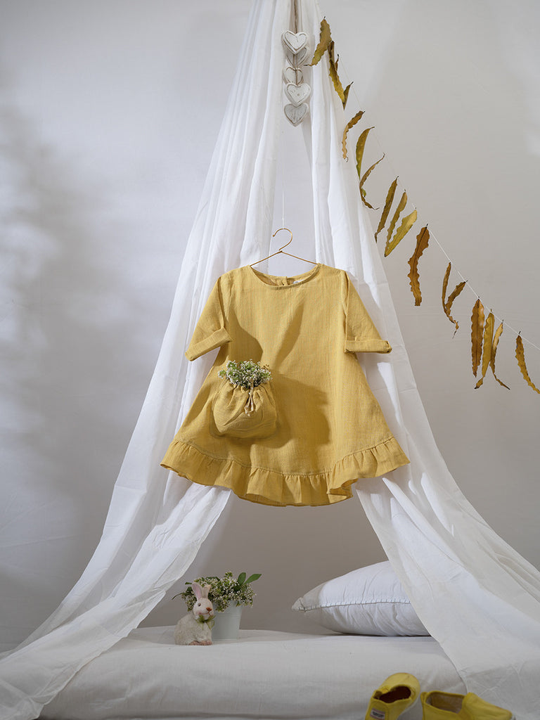 Ochre Yellow Cotton Herbal Hand Dyed Ruffled Bottom Dress