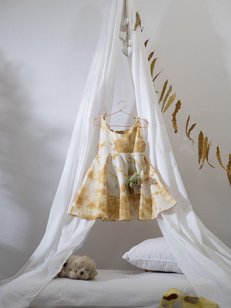 Ochre Yellow Tie and Dye Cotton Herbal Hand Dyed Dress