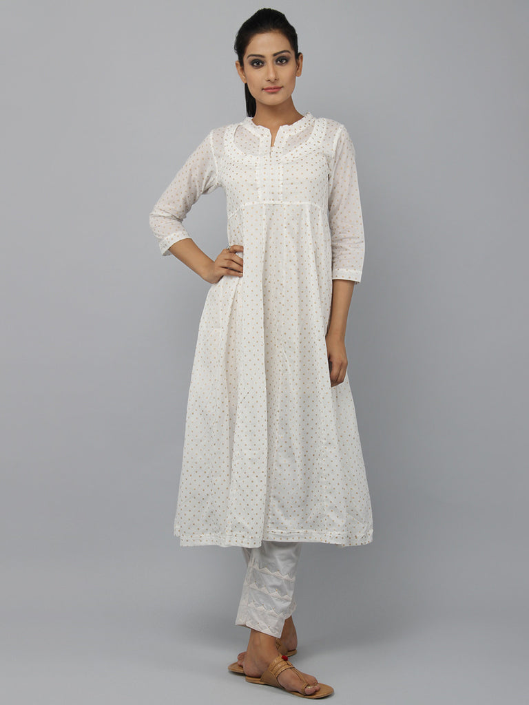 Off White Block Printed Cotton Rajasthani Neckline Kurta