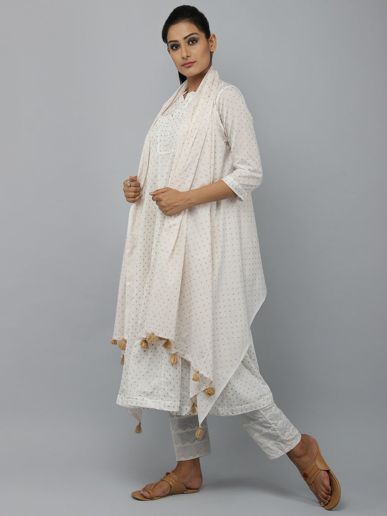Off White Block Printed Cotton Shrug