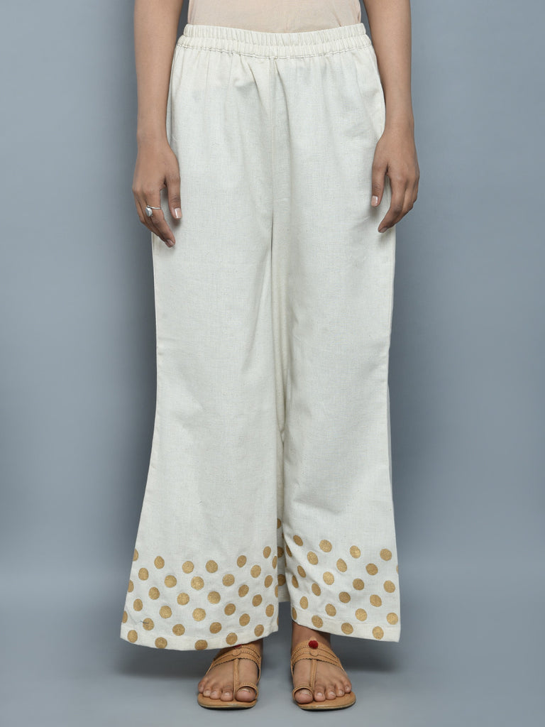 Off White Golden Block Printed Khadi Pants