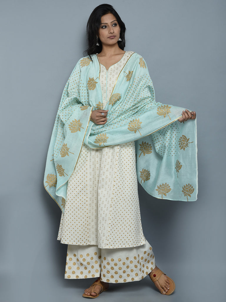 Off White Block Printed Khadi Kurta and Pants with Light Blue Chanderi Dupatta - Set of 3