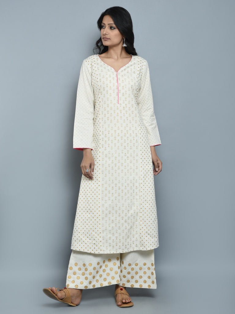 Off White Pink Gold Block Printed Khadi Kurta