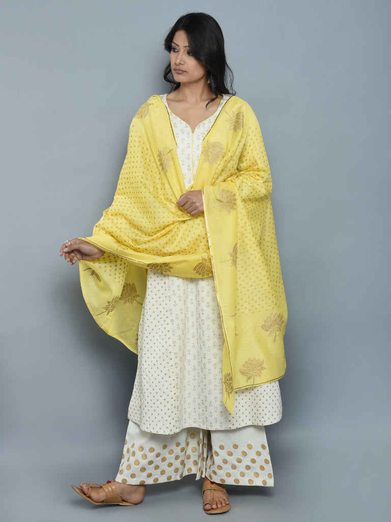 Off White Block Printed Khadi Kurta and Pants with Yellow Chanderi Dupatta - Set of 3