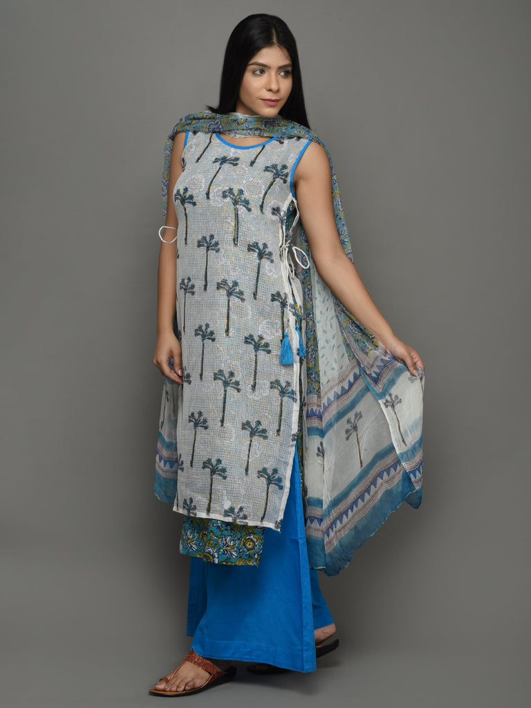 Off White Blue Block Printed Indigo Cotton Kurta with Palazzo and Chiffon Dupatta - Set of 3
