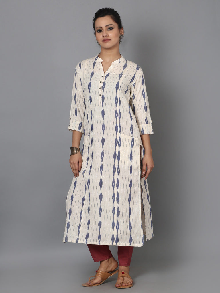 Off White Blue Cotton Ikat Front Pocket Kurta