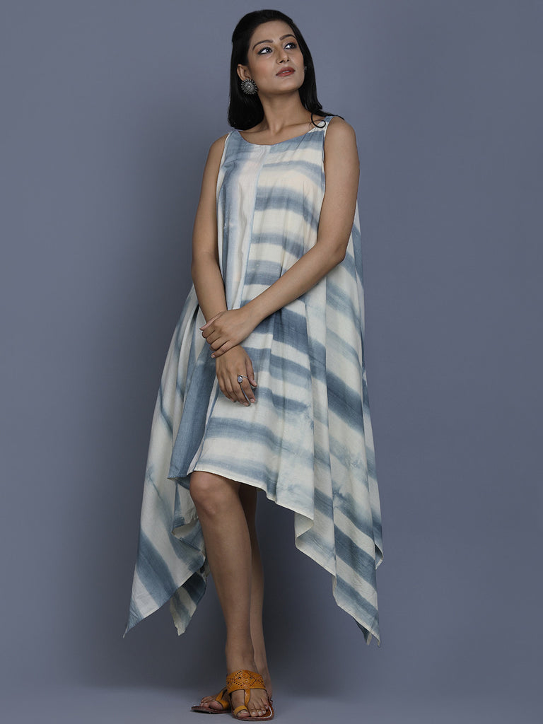 Off White Blue Cotton Shibori Dye Dress